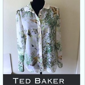 New Ted Baker butterfly button up blouse sz small